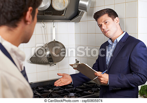 Health Inspector Meeting With Chef In Restaurant Kitchen - csp50805974