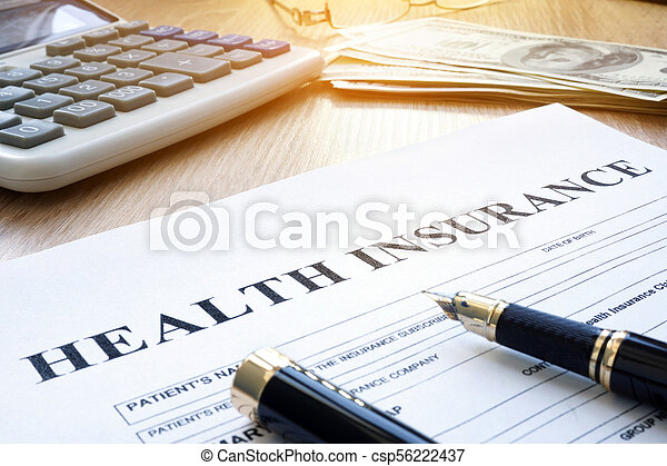 Health insurance form and pen in the agency. - csp56222437