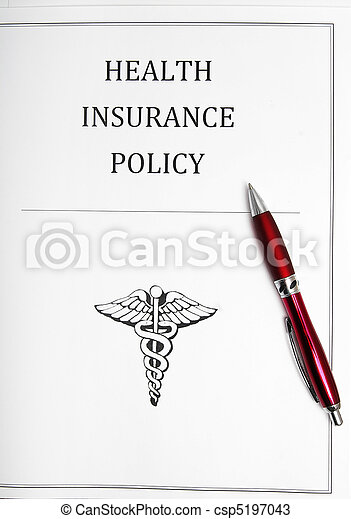 health insurance policy with pen - csp5197043
