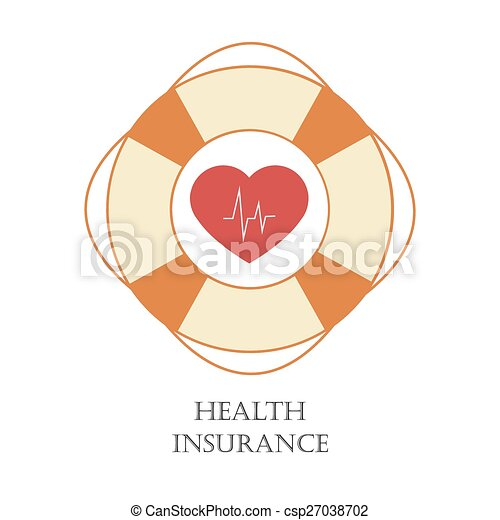 Health Insurance Sign With Safety Ring And Heart As Symbol Of