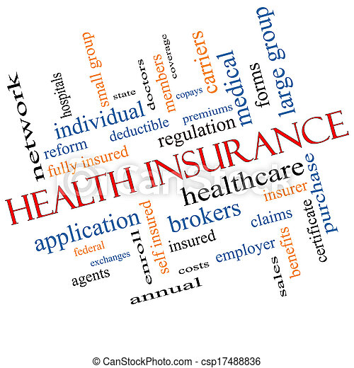 Health Insurance Word Cloud Concept Angled - csp17488836