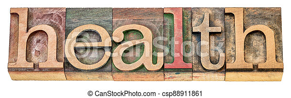 health - isolated word in wood type - csp88911861