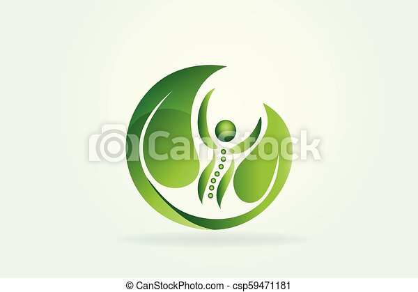 Health nature spine care icon logo - csp59471181