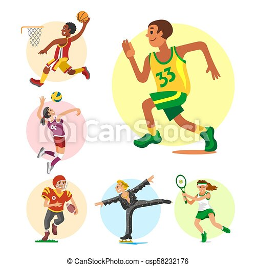 Health sport and wellness flat people characters sporting man activity woman athletic vector Illustration. - csp58232176