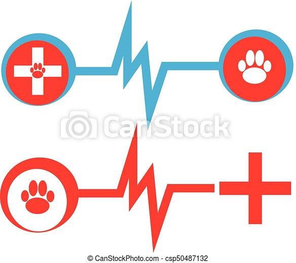 Health Symbols With Dog Paw And Cross On White Background