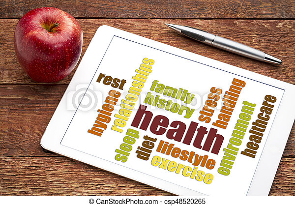 health word cloud on tablet with apple - csp48520265