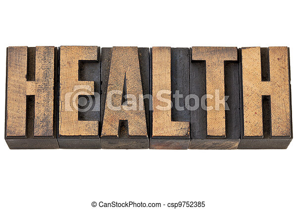 health word in letterpress wood type - csp9752385