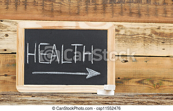 """health"" word on blackboard with arrow - csp11552476"