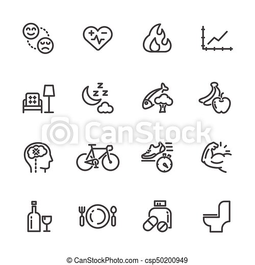 Healthcare and healthy lifestyle icons set, Vector line icon - csp50200949