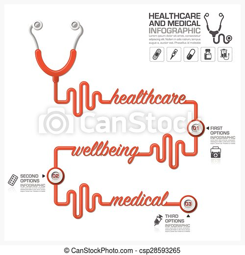 Healthcare And Medical Infographic With Stethoscope Timeline Diagram
