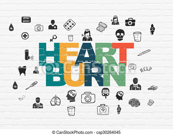Healthcare concept: Heartburn on wall background - csp30264045