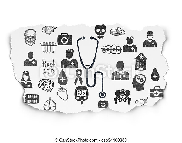 Healthcare concept: Stethoscope on Torn Paper background - csp34400383