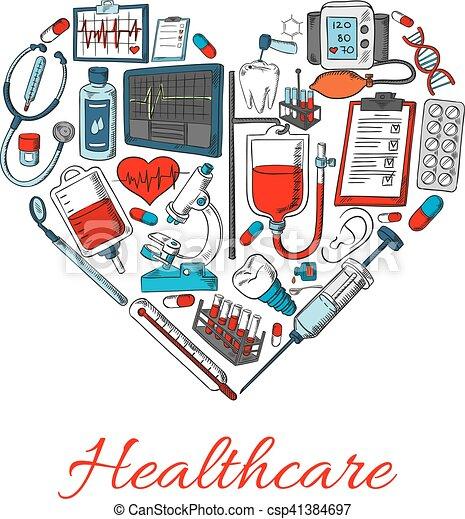 healthcare, forme, coeur, icônes - csp41384697