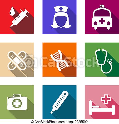 healthcare, plat, monde médical, ensemble, icônes - csp19335590