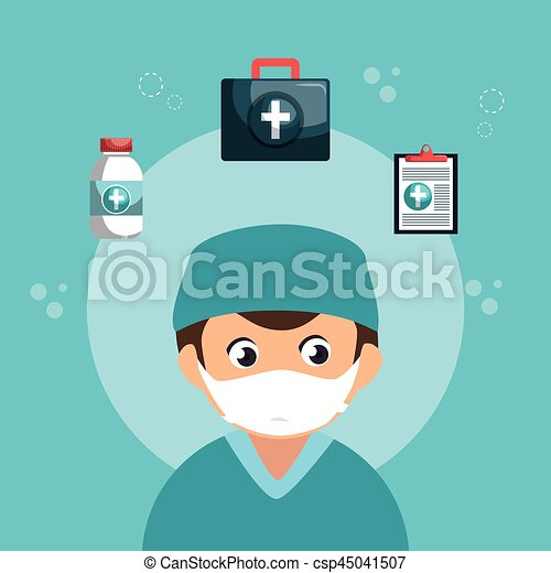 healthcare professional avatar character - csp45041507