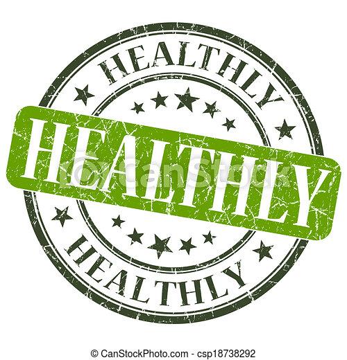 healthly green grunge round stamp on white background