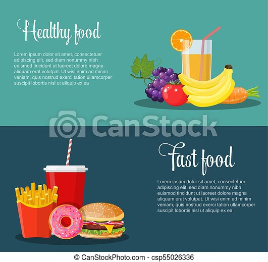 Healthy and unhealthy food banners