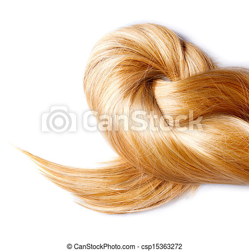 Healthy Blond Hair isolated on white  - csp15363272