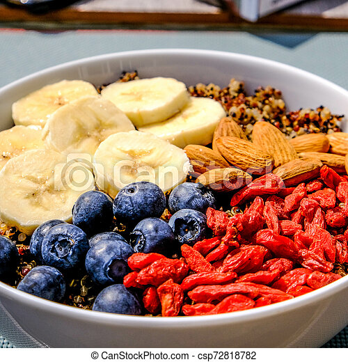Healthy Breakfast Bowl of Quinoa With Fruit and Nuts - csp72818782
