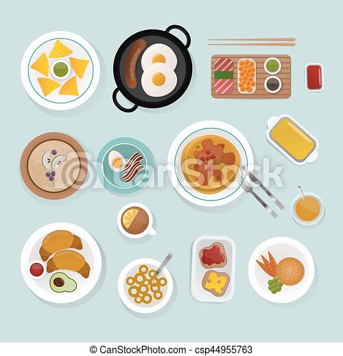 Healthy Breakfast Food Top View Vector Illustration Healthy