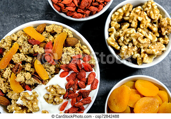 Healthy Breakfast of Cereals With Dried Fruit and Nuts - csp72842488