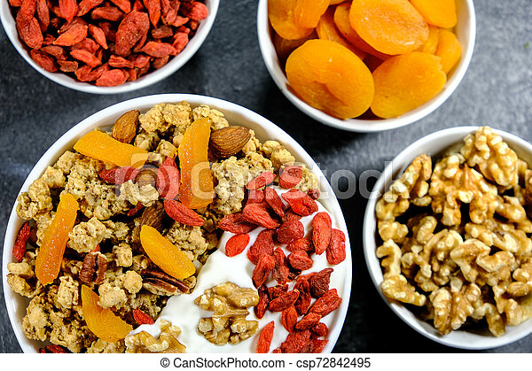 Healthy Breakfast of Cereals With Dried Fruit and Nuts - csp72842495