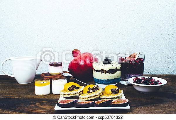 Healthy breakfast on rustic wooden table. - csp50784322