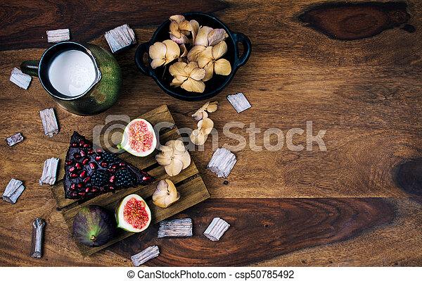 Healthy breakfast on rustic wooden table. - csp50785492