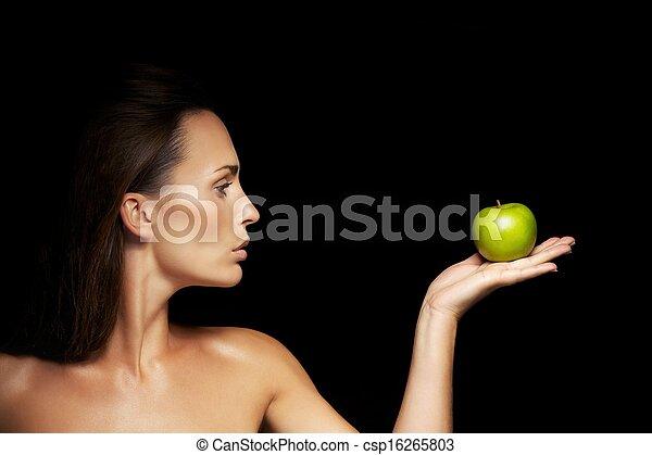 Healthy Caucasian Woman With Apple