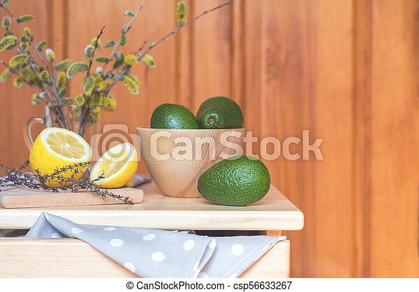 Healthy delicious nutritious breakfast, cozy home - csp56633267