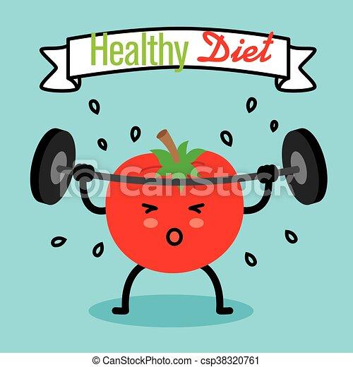 Healthy Diet Tomato Doing Weights Clip Art Vector