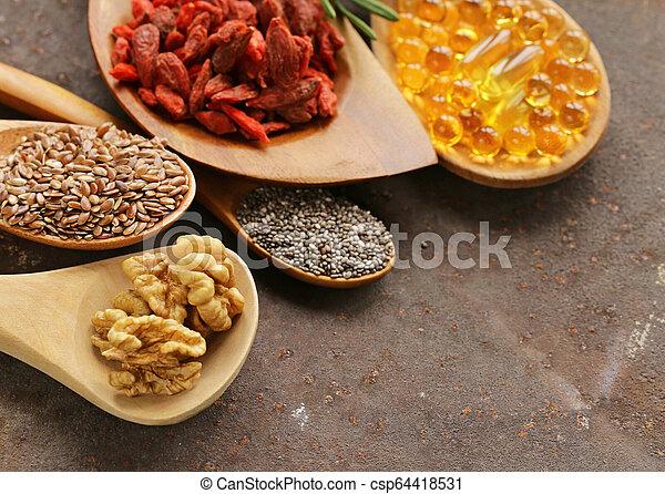 Healthy Eating Ingredients Super Food Chia And Flax Seeds Goji