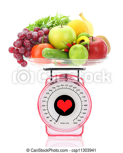 Healthy eating. Kitchen scale with fruits and vegetables - csp11303941