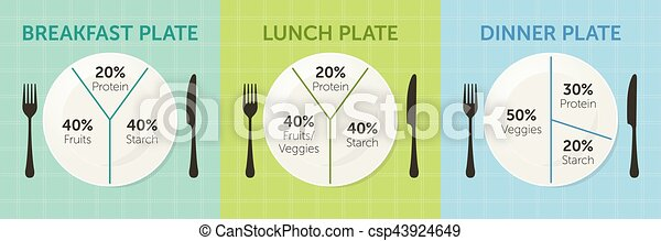 Healthy eating plate diagram - csp43924649  sc 1 st  Can Stock Photo & Healthy eating plate diagram. breakfast lunch and dinner.