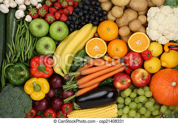 Healthy eating vegetarian fruits and vegetables background - csp21408331