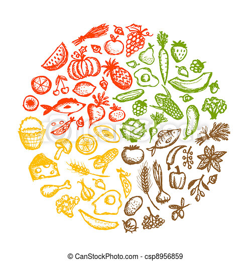 Healthy food background, sketch for your design - csp8956859