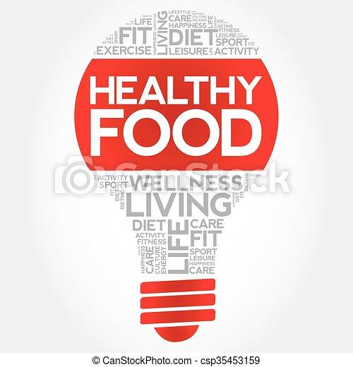 Healthy Food bulb word cloud - csp35453159