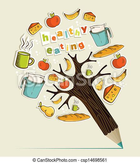 Healthy food concept pencil tree. Healthy food eating ...