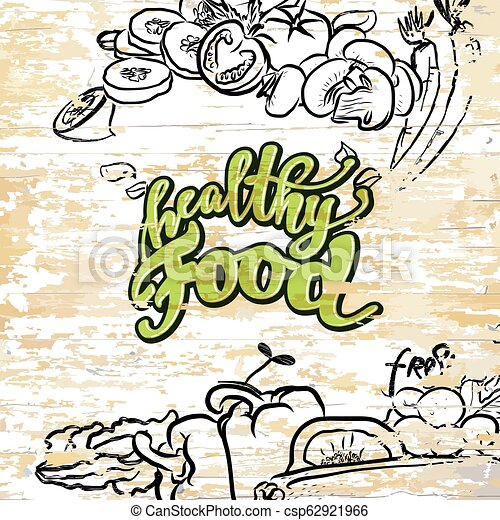 Healthy food drawing on wooden background - csp62921966