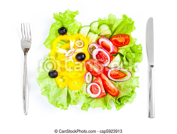 healthy food fresh vegetable salad knife and fork - csp5923913