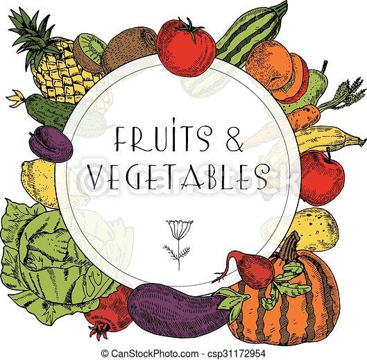 Healthy food fruits vegetables frame decorative colorful frame of healthy food fruits vegetables frame csp31172954 altavistaventures Choice Image