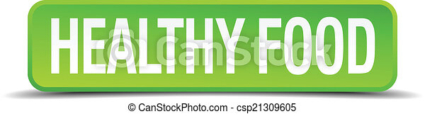 healthy food green 3d realistic square isolated button - csp21309605