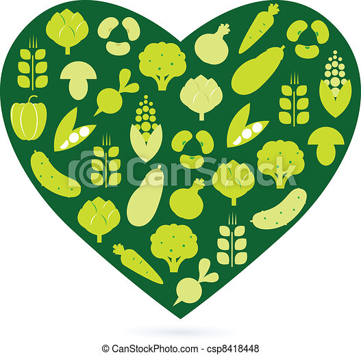 Healthy food heart isolated on white ( green ) - csp8418448
