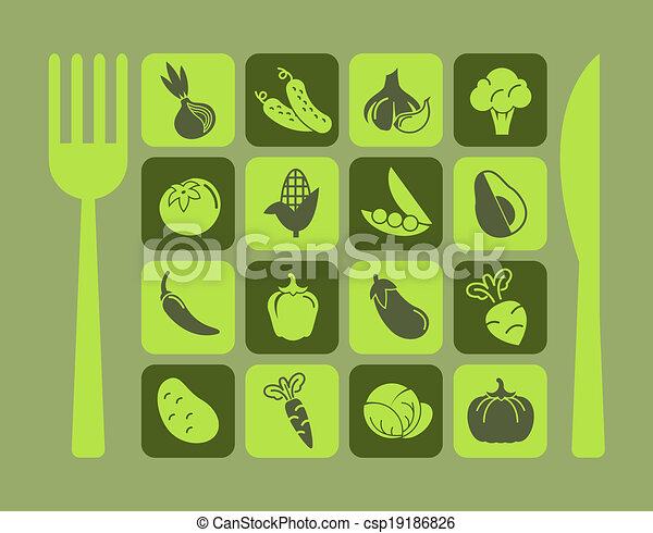 Healthy Food Icon Set. - csp19186826