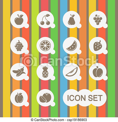 Healthy Food Icon Set. - csp19186903