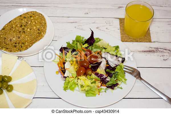 Healthy food on a white wooden table - csp43430914