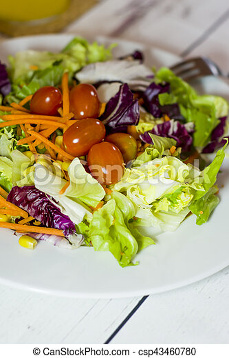 Healthy food on a white wooden table - csp43460780