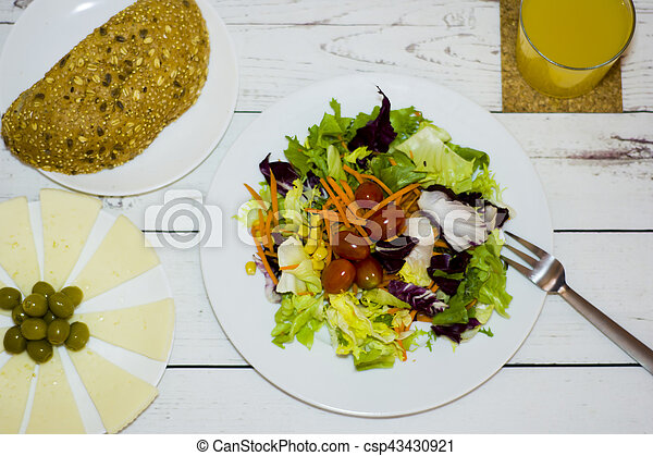 Healthy food on a white wooden table - csp43430921