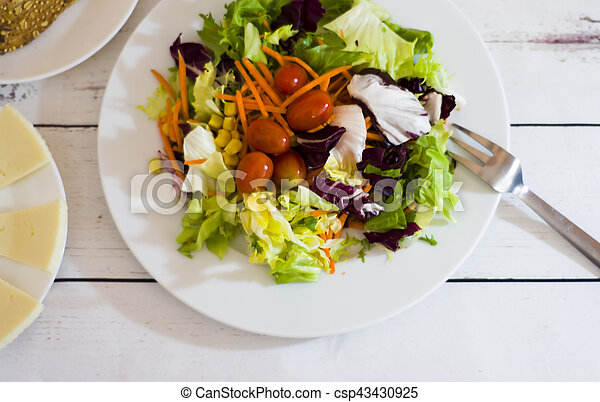 Healthy food on a white wooden table - csp43430925