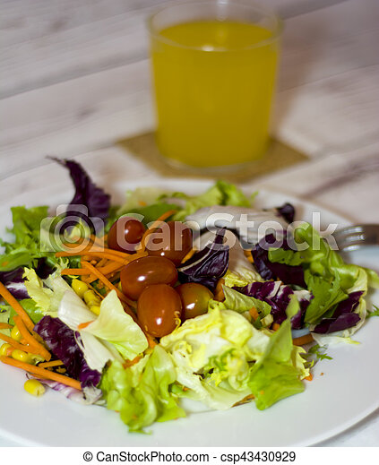 Healthy food on a white wooden table - csp43430929